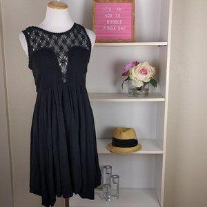 Free People Black Crochet Dress SZXS